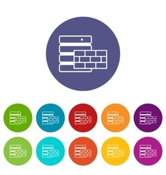 Database and brick wall set icons vector image