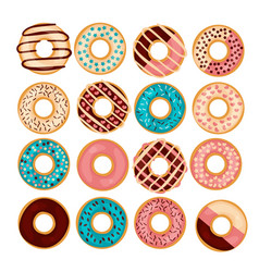 donut set isolated on a wight vector image vector image