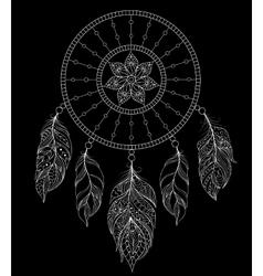 Dreamcatcher on black background vector