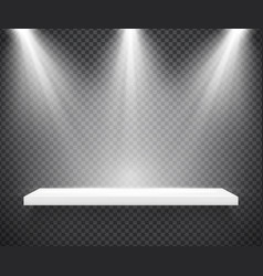 empty white shelf illuminated by three spotlights vector image
