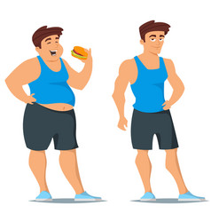 Fat and slim man in sport wear vector