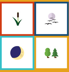 Flat icon bio set of gull cattail half moon and vector