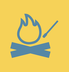 Flat icon fire and match bonfire vector
