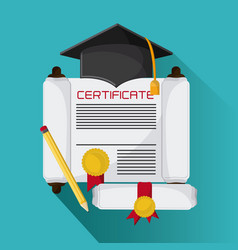 Graduation cap diploma pencil icon graphic vector