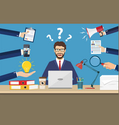 happy businessman with many hands vector image