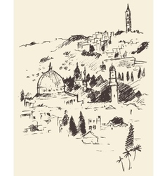 Jerusalem city view israel vintage engraved vector