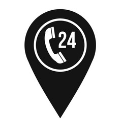 Map pointer with phone handset icon simple style vector