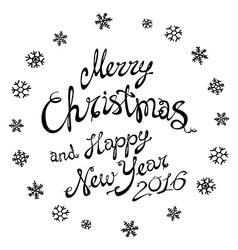 Merry Christmas black glittering lettering design vector image