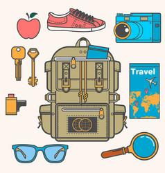 Overhead view of traveler accessories essential vector