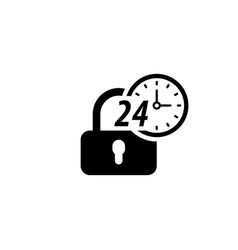 Secured 24-hour icon flat design vector