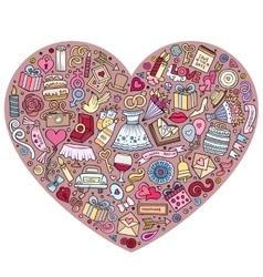 Set of Wedding cartoon doodle objects vector image vector image