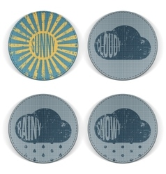 Weather retro scratched circle banners vector