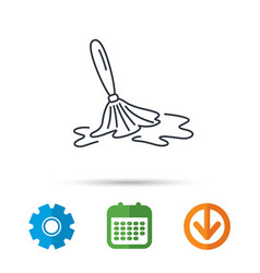 wet cleaning icon clean-up floor tool sign vector image