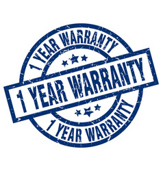 1 year warranty blue round grunge stamp vector