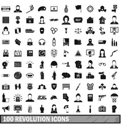 100 revolution icons set simple style vector