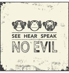 wise monkeys vector image