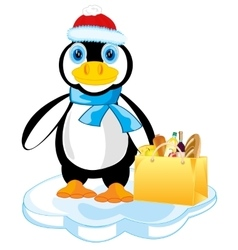 Penguin on block of ice vector
