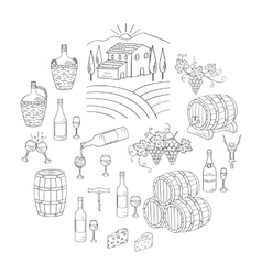 Wine and wine making set vector
