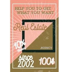Color vintage real estate agency banner vector
