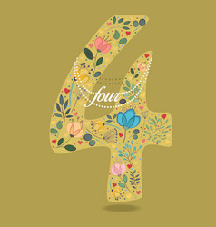 yellow number four with floral decor and necklace vector image