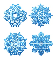 Set of variation snowflakes isolated vector