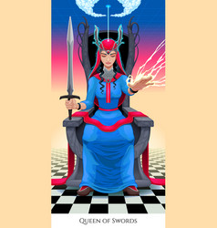 Queen of swords tarot card vector