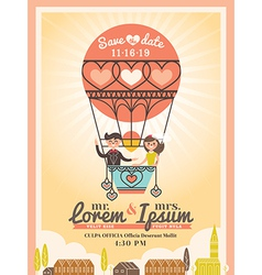 Cute groom and bride on balloon wedding invitation vector