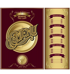 Gold template for the cover of the menu vector
