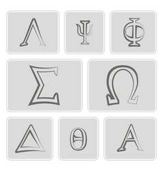 Icons with letters of the greek alphabet vector