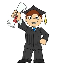 Student holding his diploma vector