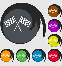 Race flag finish icon sign symbols on eight vector