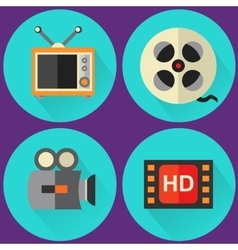 Flat multimedia icons vector