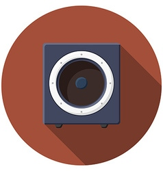 Flat design sound speaker icon with long shadow vector