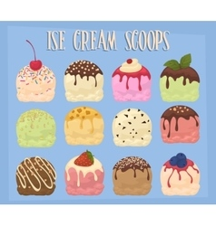 Ice cream scoops collection vector image