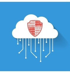 Flat data cloud shield vector