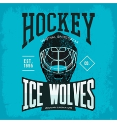 Hockey helmet as sport team badge or logo vector