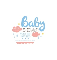 Baby shower invitation design template with clouds vector
