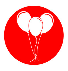 Balloons set sign white icon in red vector