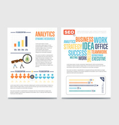 Business analytics banner set with businessmen vector