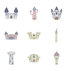 Citadel and chateau fortress icons set vector