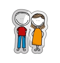 Cute little couple isolated icon vector