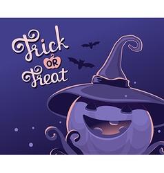 dark blue halloween of decorative pumpkin in vector image vector image