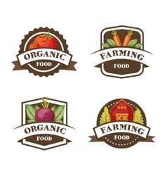 Farming organic food emblems vector