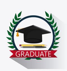 Graduation cap wreath pencil pen icon vector