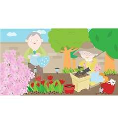 Grandparents gardening vector
