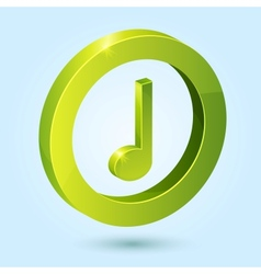 Green music symbol isolated on blue background vector image vector image