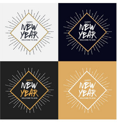 happy new year 2018 lettering vintage design vector image vector image