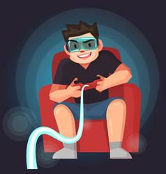 man play the game with joystcik vector image