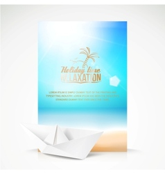 Paper boat beach palm on an paradise place vector