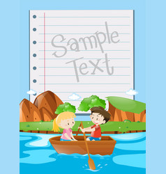 Paper design with kids rowing boat background vector